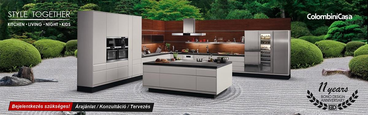 Colombini modern és klasszikus olasz konyhabútorok, prémium beépíthető konyhagépek, Bono Design